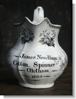 JAMES NEEDDHAMCOTTON SPINNER 1834 SWANSEA JUG.